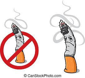 Closeup cigarette for sign of prohibition