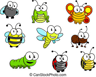 Cartoon insects set isolated on white background for...