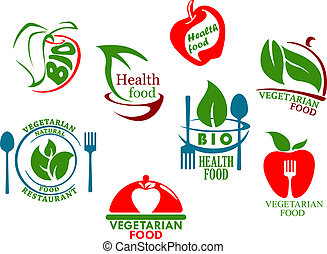 Vegetarian food symbols set for healthy lifestyle