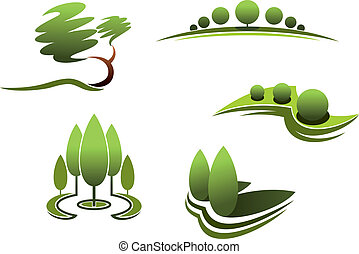 Landscape design elements:trees, shrubs, plants isolated on...