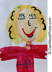 Children's drawing of teacher - Multicolored and funny...