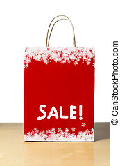 Red Christmas Sale Bag - A Winter or Christmas sale shopping...