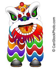Chinese Dancing Lion Illustration - Chinese Lion Dance...