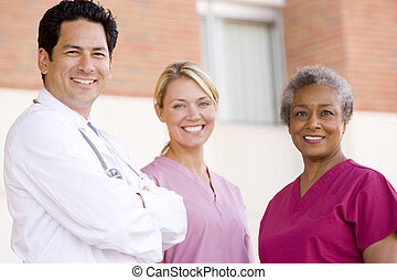 doctor, y, enfermeras, posición, exterior, Un,...