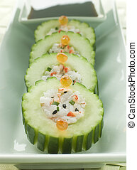 Cucumber Sushi Roll with Crayfish and a Soy Dip