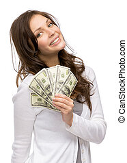 Happy woman holding cash - Half-length portrait of happy...