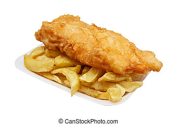 fish and chips in tray - Carton of fish and chips A...