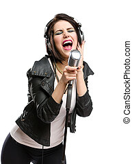 Rock singer with microphone and earphones - Half-length...