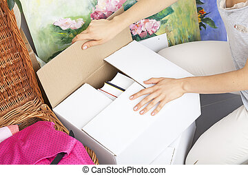 Boxes ready to moving - Woman finish packing and leaving...