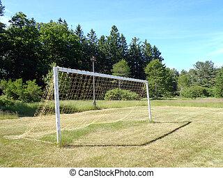 futball, gól, háló, füves, mező