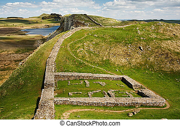 Milecastle 39 on Hadrians Wall - Milecastle 39 part of...