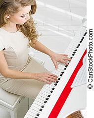 sommet, musicien, vue,  piano, jouer