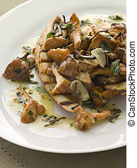 Wild Mushrooms Sauteed in Garlic Butter with Char grilled...