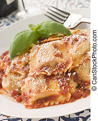 Veal and Sage Ravioli with Tomato and Basil Sauce with Grated Parmesan