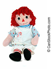 Christmas rag doll - Old rag doll with candy cane in apron...