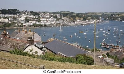 Fowey Cornwall from Polruan England near St Austell on a...