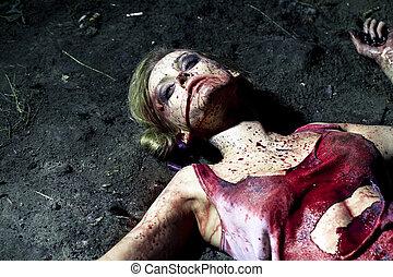 véres, holt, nő, fekvő, föld