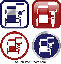 Philippine tricycle icon set. Philippine motorized tricycle...