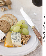 Plate of Cheese and Biscuits with a Glass of Port