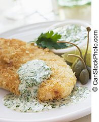 Crumbed Chicken Breast with Green Yoghurt Dressing