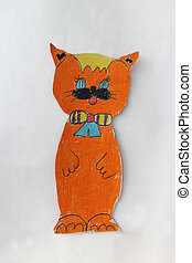 Children's drawing with red cat - children's drawing with...