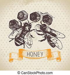 mel, fundo, mão, desenhado, Esboço,...