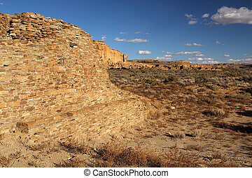 Pueblo Ruins in Chaco Culture National Historical Park, New...