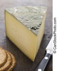Wedge of Cornish Yarg Cheese with Oatmeal Biscuits