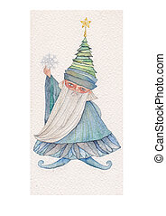 Mr. Winter - watercolor illustration of Mr. Winter