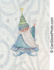 Mr Winter - watercolor illustration of Mr Winter