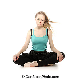 Young woman in advanced sitting yoga pose, isolated on white...