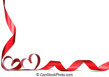 Red heart ribbons - Ribbons shaped as hearts on white,...