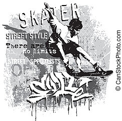 skater X jump - skateboard vector for T-shirt printed and...