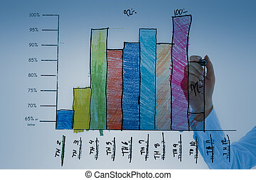 Young business Woman drawing a Graph on a glass board