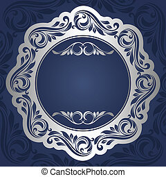 Silver frame - Floral rounded frame. Silver background.