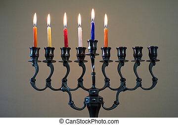 Hanukkah menorah on the fifth day of Hanukkah - Hanukkah...