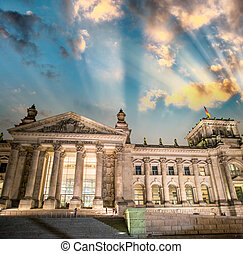 Berlin, The Reichstag. Frontal view the building in a...