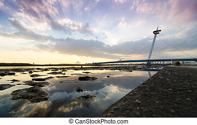 Suspension bridges of Kasairinkai park, Tokyo, Japan -...