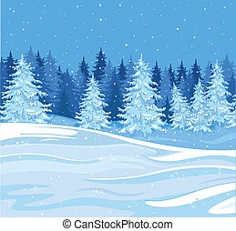Winter landscape - Snowfall over a fir tree forest
