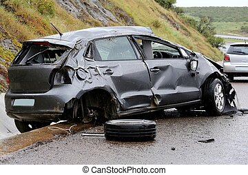 Car Accident and Wreckage - Modern automobile stuck on the...