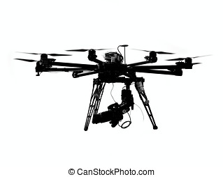 Unmanned Aerial Vehicle with Camera - A UAV or drone with a...