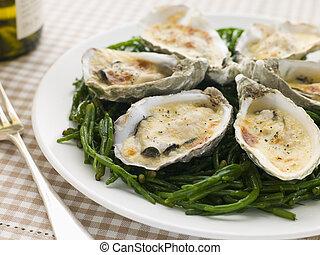grillé, huîtres, Mornay, sauce, Samphire