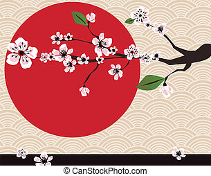 Japanese card with cherry blossom