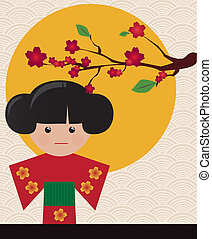 Little cute Japanese geisha character card with place for...