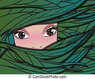 Fairy forest girl, vector illustrat
