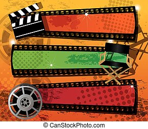 Movie background, banners, vector - Set of three movie...