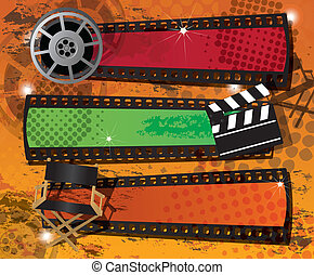 Set of three movie banners on grungy background with place...