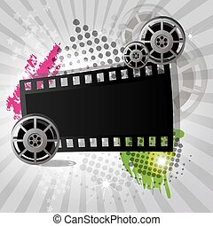 Movie background, banner, vector - Movie background with...