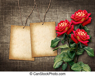 Card for invitation or congratulation with red roses