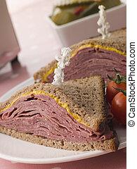 pastrami, centeno, Bread, mostaza